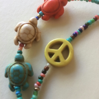 Southwestern Coloured Beaded Bead Lanyard Spectacle Glasses Chain Turtles Peace