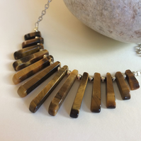 Tigers Eye Fan Silver Plated Lagenlook Bib Necklace