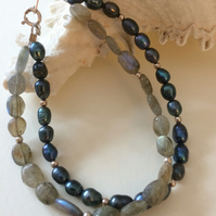 Double Stranded Black Freshwater Pearl with Labradorite Sterling Silver