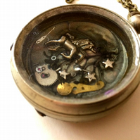 Steampunk Flying Unicorn Steam Punk Vintage Pocket Watch Necklace Quirky