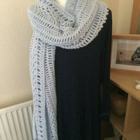 Light Blue Crochet Wrap, Shawl, Stole, Chunky Scarf, Plus Size
