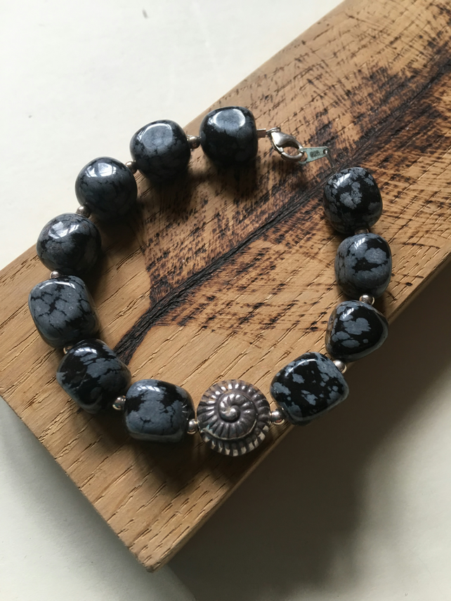 Chunky Snowflake Obsidian Bracelet with HillTribe Silver and Sterling Shell