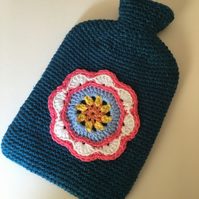 Hand Crochet Hot Water Bottle and Cover 2 Litre OOAK Retro Style