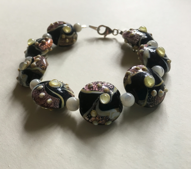 Chunky Hand Crafted Lamp Work Bead With Mother of Peal Accents Bracelet OOAK