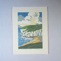 North Landing- Flamborough Head. Linocut Print