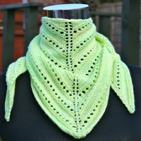 Hand knitted lime green Scarf or Shawl