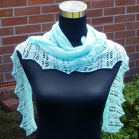 Aquamarine Alpaca and Silk Scarf with beads