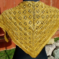 Hand knitted Merino Shawlette or Scarf