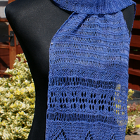 Hand-knitted blue linen lace scarf