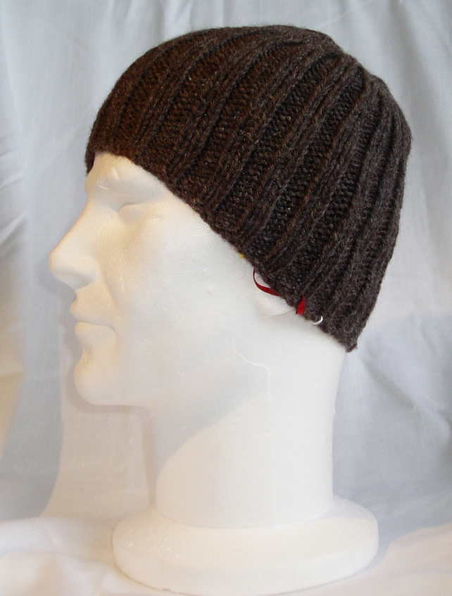 Knitting Pattern Ribbed Beanie : Hand Knitted Ribbed Beanie - Folksy