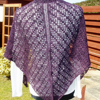 Dark Purple Merino Triangle Lace Shawl