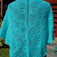 Sea Green Merino Lace Triangle Shawl