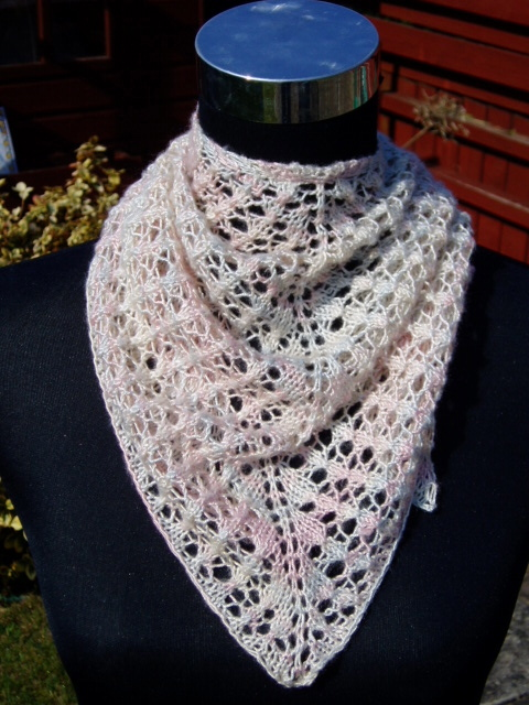 Hand knitted bamboo small shawl or scarf