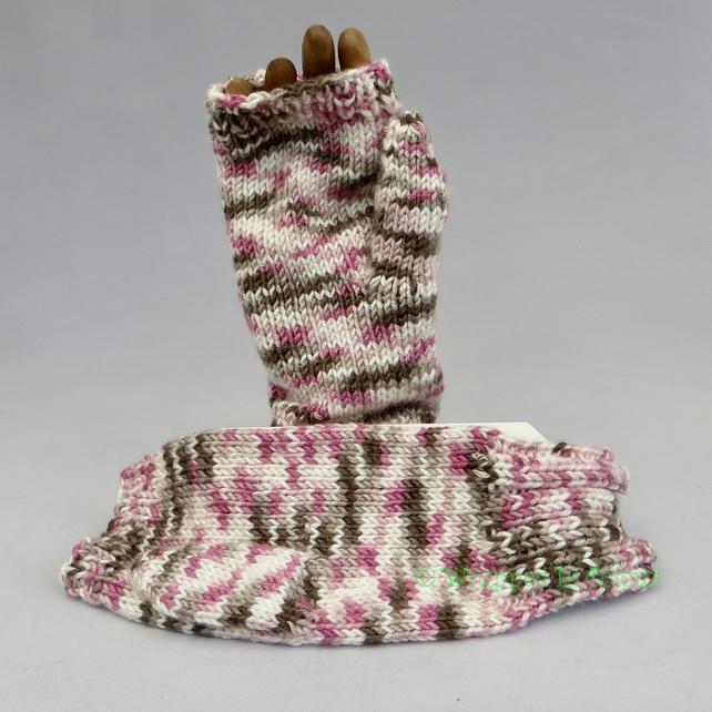 Multi-Coloured Fingerless Mitts with closed thumb
