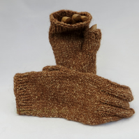 Brown Fingerless Knitted Mitts