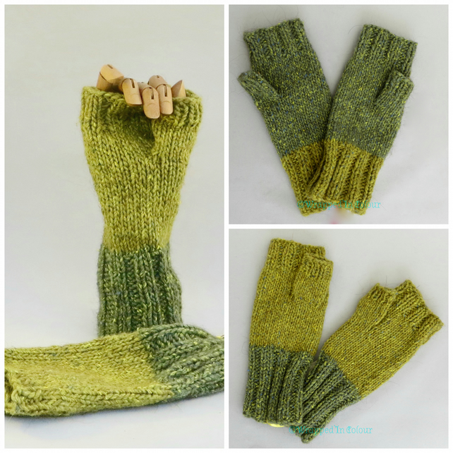 Two tone Green Fingerless Mitts