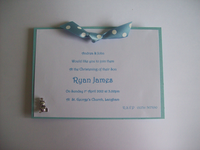 handmade christening invitations - pink  blue o