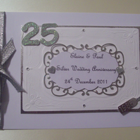 Boxed Personalised Silver Anniversary Keepsake Album - Anniversary, Wedding Day