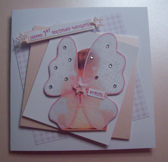 Personalised Daughter 1st Birthday Card Fairy Folksy