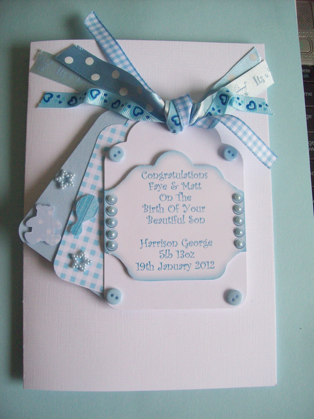 Personalised New Baby Boy Card - Tags & Ribbon