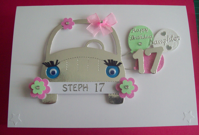 Unique Personalised 17th Birthday Card Daughter Folksy