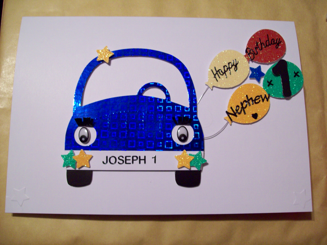 Personalised Boys Car 1st Birthday Card