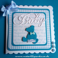 Personalised New Baby Boy Layered Card