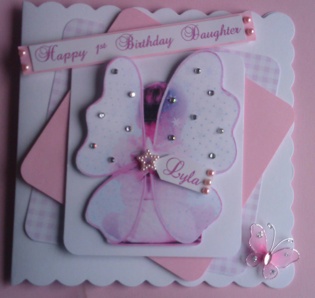 Personalised 1st Birthday Card Fairy Wings Da Folksy