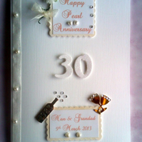 Personalised 30th Pearl Wedding Anniversary Card -10th,25th,,30th,40th,50th,60th