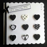 Personalised Card Black & White Hearts Card - weddings anniversary engagement