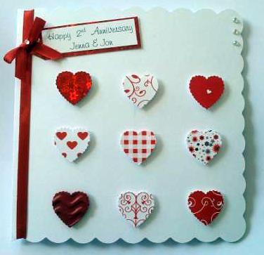 Personalised Anniversary, Engagement or Wedding Card - Red Hearts