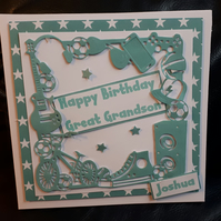 Personalised Handmaade Boy Card - Soon, Grandson, Brother, Friend, Nephew,