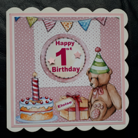 First Birthday Card Girl Daughter Grandaughter 1st 2nd 3rd