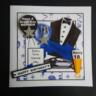Personalised Male Birthday Card, Son, Nephew,Brother, 18th, 21st, 30th