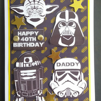 Personalised Star Wars Birthday Card, Brother,Son,Dad,Grandson