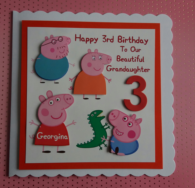 Personalised Peppa Pig Family Birthday Card 1st 2nd 3rd 4th 5th