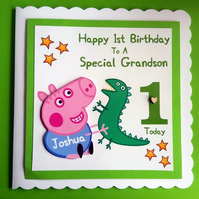 Personalised George Pig Birthday Card,  1st,2nd,3rd Son Grandson
