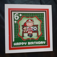 Personalised Handmade Boy Football  Birthday Card 3rd  4th 5th 6th 7th 8th