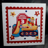 Boy Personalised Bulldozer Birthday Card  1st 2nd 3rd 4th 5th