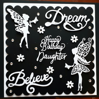 Personalised Female Birthday Card - Dream - Believe - Fairy