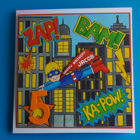 Boy Personalised Birrthday Card Superboy  - 4th 5th 6th 7th 8th Son Grandson