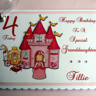 Personalised Daughter Birthday Card - Princess & Castle- 3rd 4th 5th 6th 7th 8th