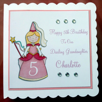 Personalised Grandaughter Birthday Card - Pink Princes - 3rd 4th 5th 6th 7th 8th