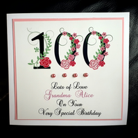 Personalised Handmade 100th Female Birthday Card - 60th 70th 80th 90th Mum Nan
