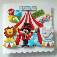 Personalised Circus Birhday card - 1st 2nd 3rd 4th 5th 6th Son Grandson