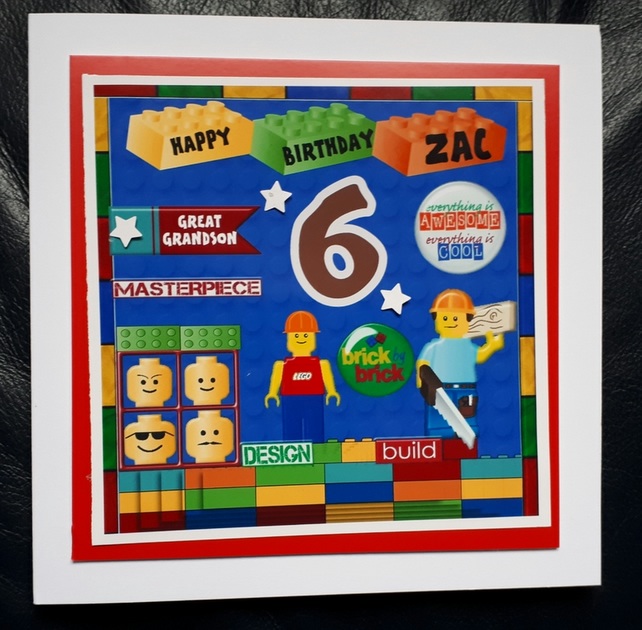 Personalised Lego Birthday Card 5th 6th 7th 8th