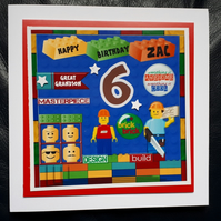 Personalised Lego Birthday Card 5th 6th 7th 8th 9th Son Grandson