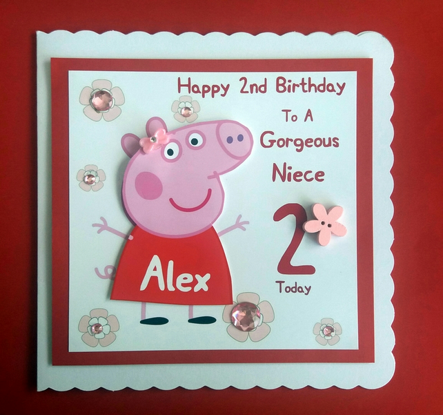 Swell Personalised Peppa Pig Birthday Card Daughter Folksy Funny Birthday Cards Online Inifodamsfinfo