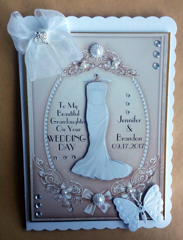 Vintage Style Personalised Wedding Card  with heart charm