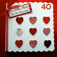 Personalised Ruby Wedding Anniversary Card - 40th